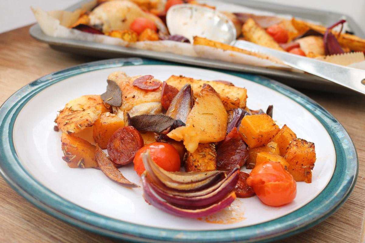 Chicken and Chorizo Tray Bake