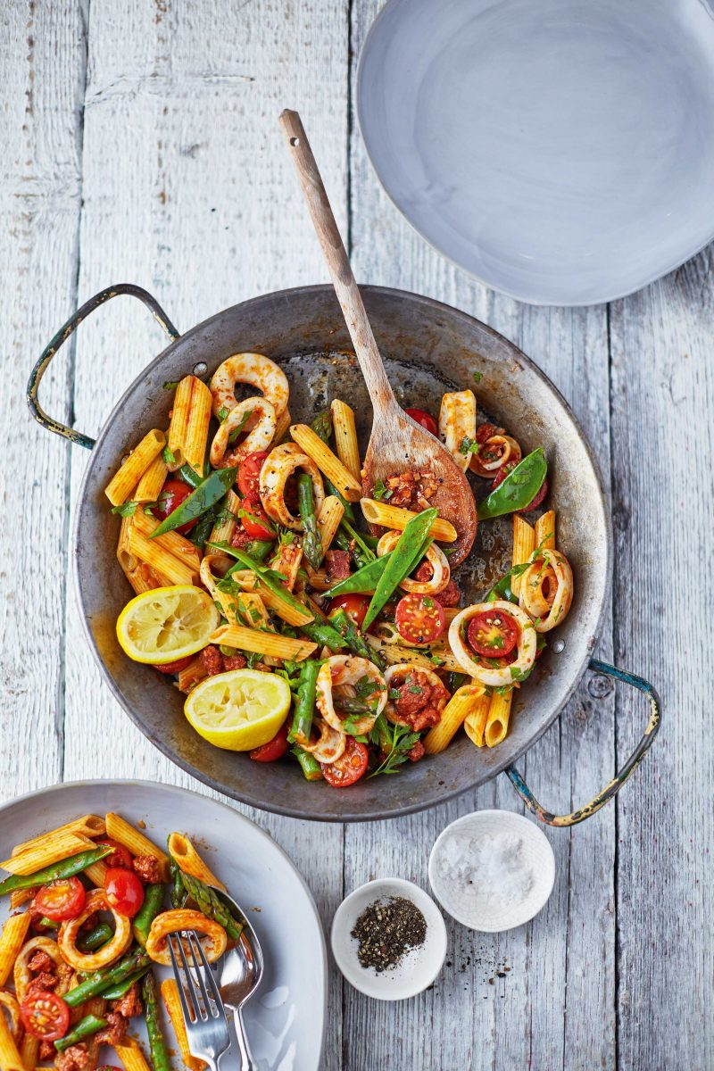 Pasta with Squid and Chorizo
